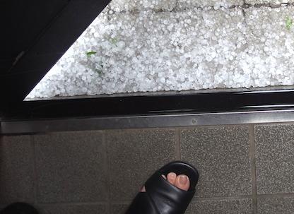 玄関足もとの雹